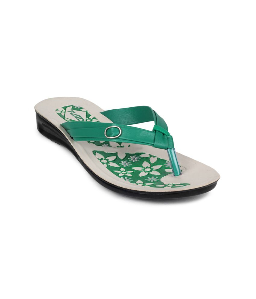 11e Green Low Heel Slippers
