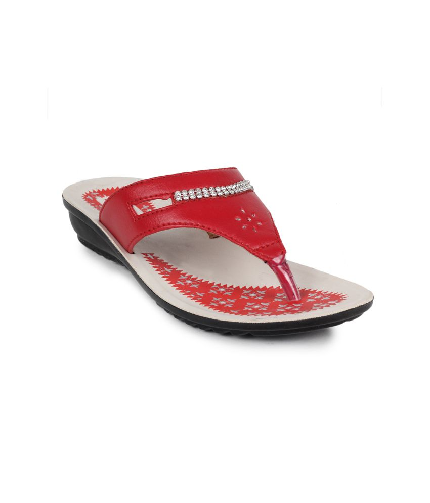 11e Red Low Heel Slippers