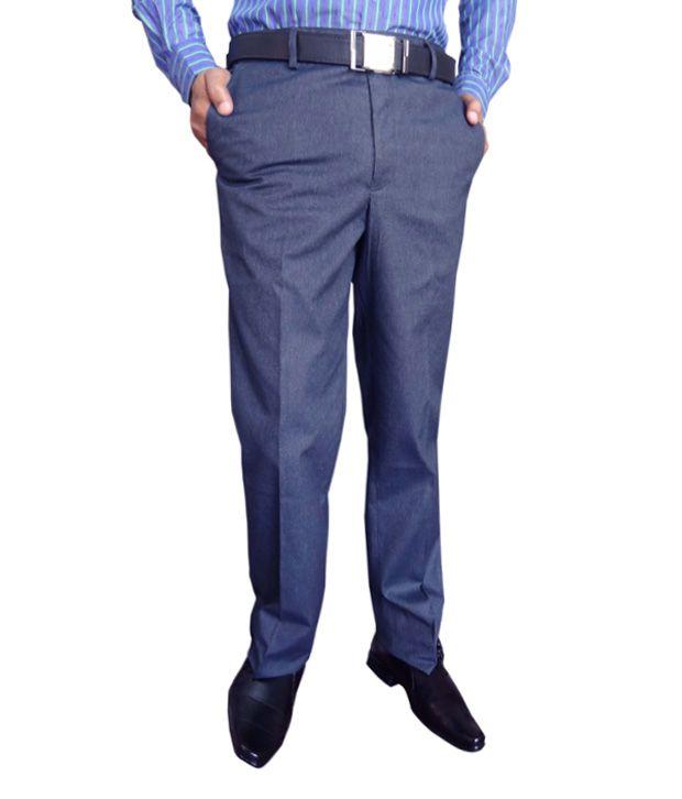AD & AV 100 Percent Cotton Blue Formal Trouser