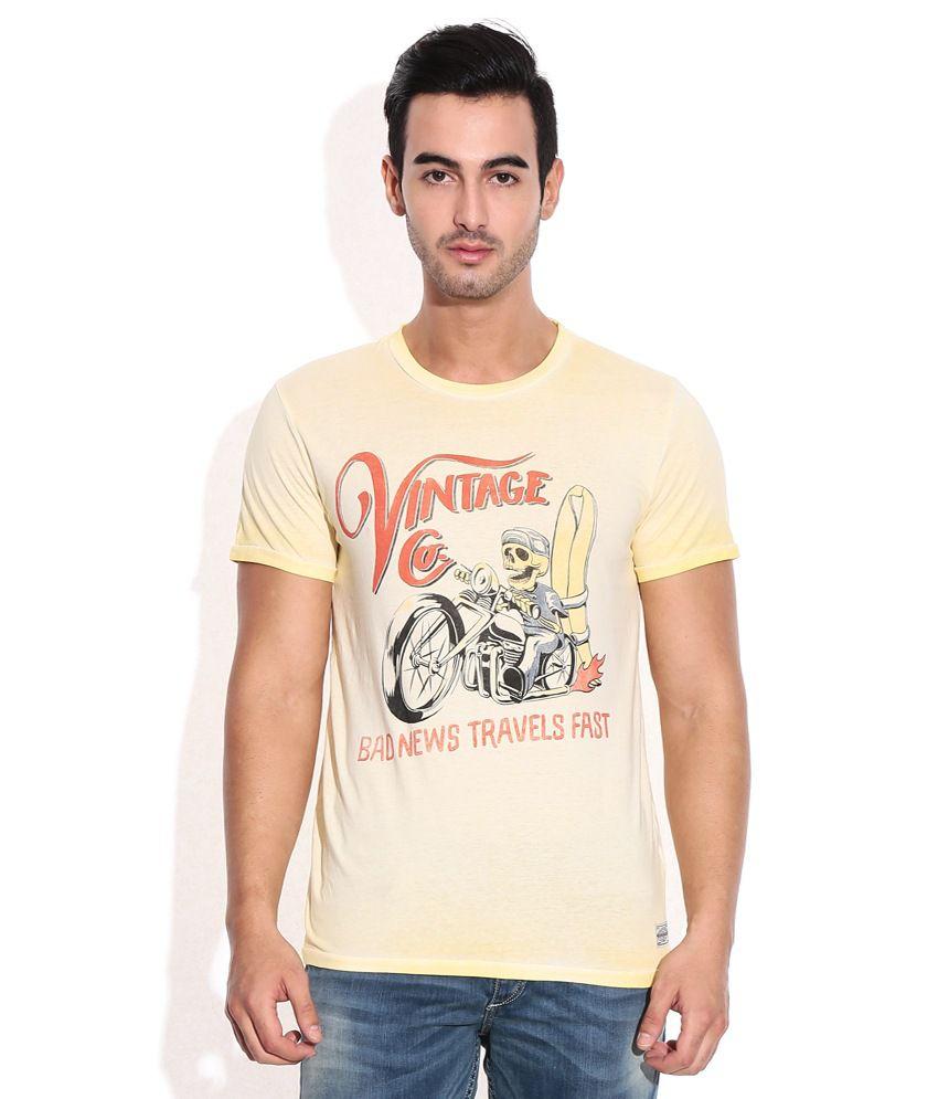 Jack & Jones Beige Cotton Round Neck T-Shirt