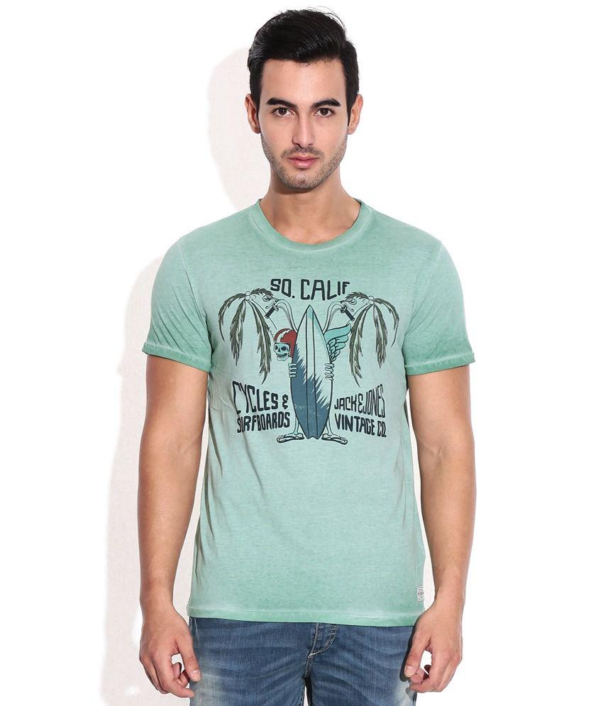 Jack & Jones Green Cotton Round Neck T-Shirt