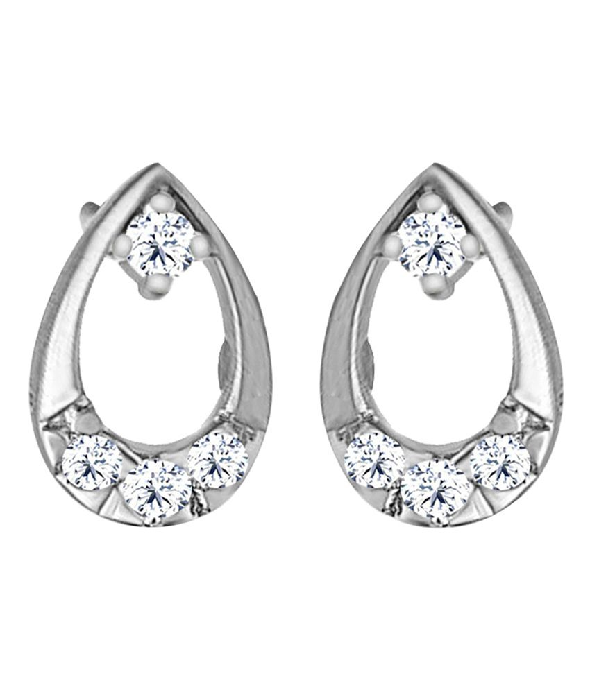 Jacknjewel 18kt Platinum Floral Round Earrings