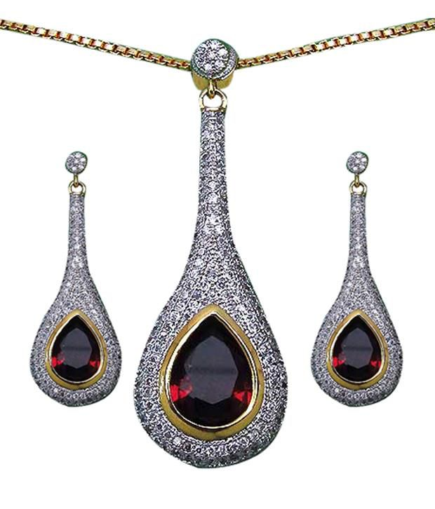 Johareez Maroon Stone Gold Plated Pendant Set With Chain available at SnapDeal for Rs.6079