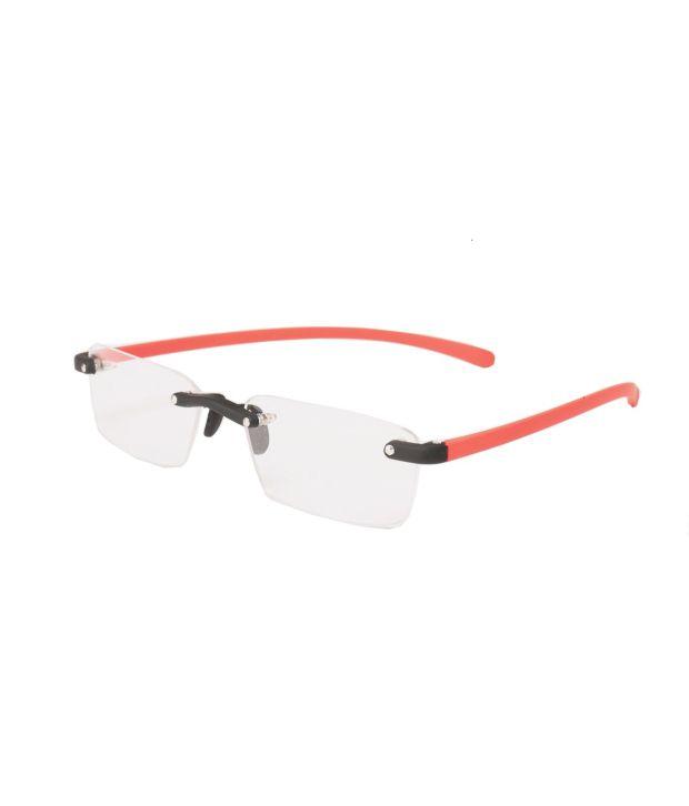 New Zovial Rectangle Rimless Red Eyewear Frames For Men - Buy New ...
