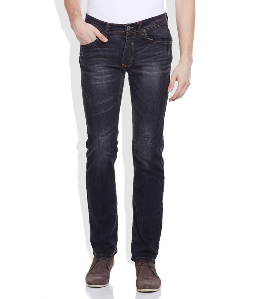 Spykar Black Skinny Fit Cotton Jeans