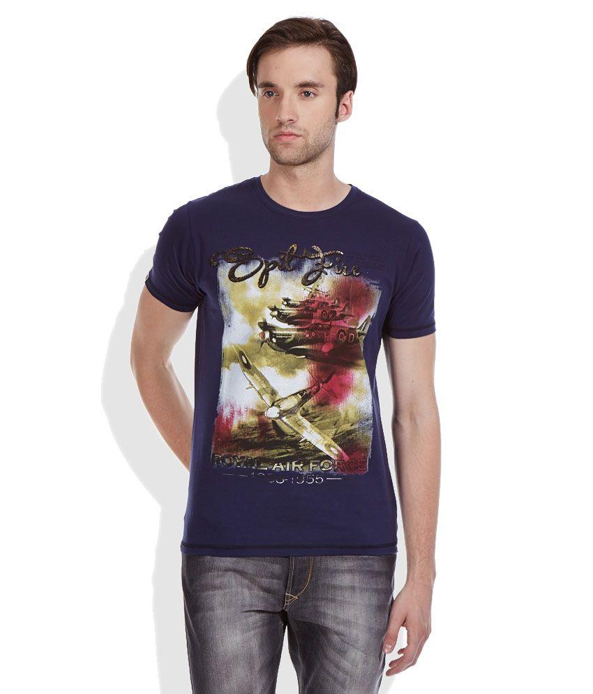 Spykar Blue Round Neack T Shirt