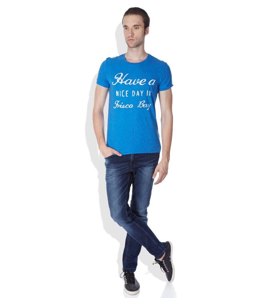 974c96987 United Colors of Benetton Blue Round Neck T-Shirt - Buy United ...