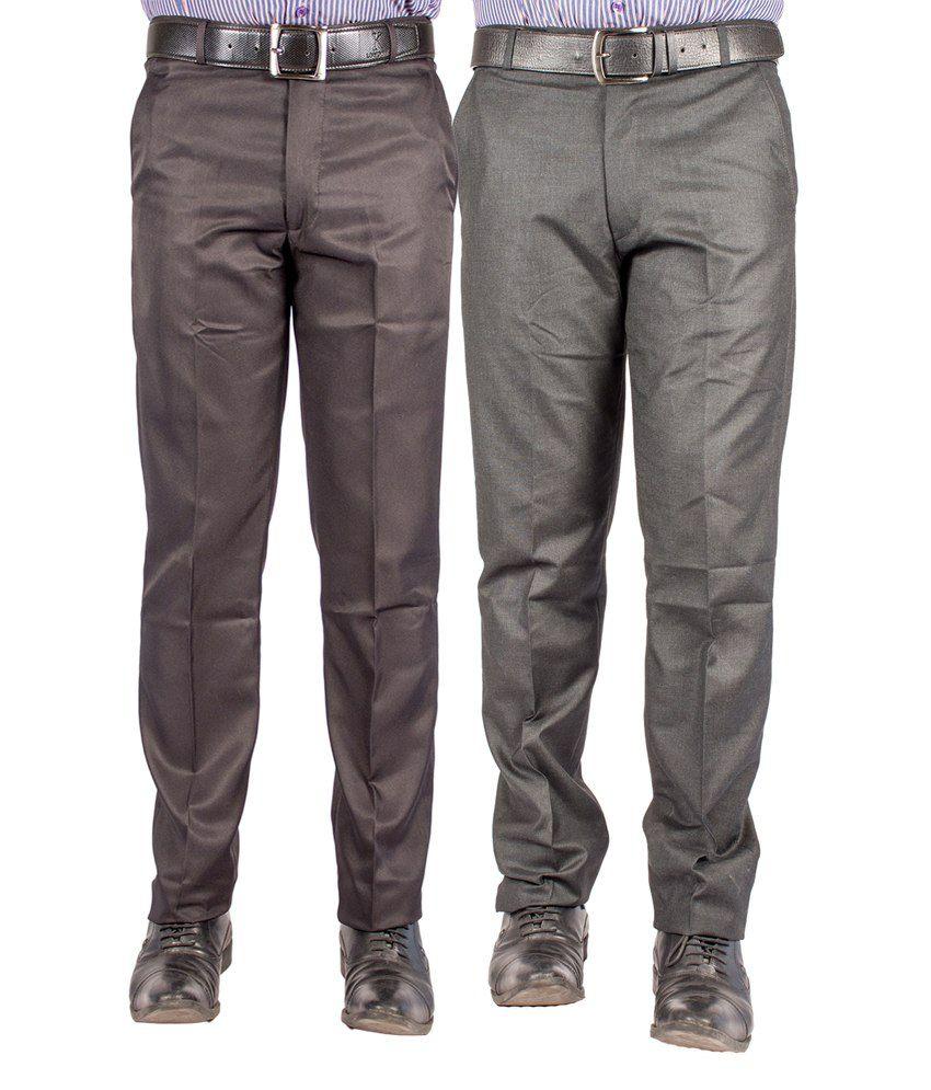 American-Elm Multicolour Cotton Blend Slim Formal Trouser - Combo Of 2