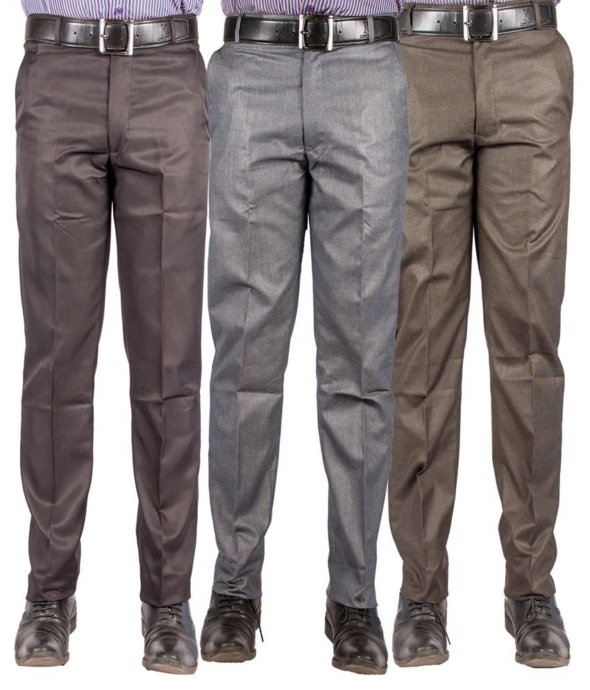 American-Elm Multicolour Cotton Blend Slim Formal Trouser - Combo Of 3