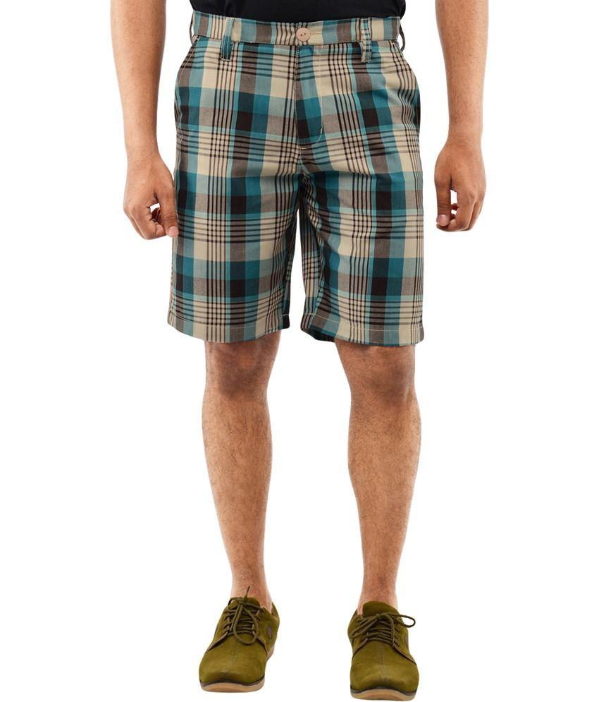 Blue Wave - Multi Cotton Blend Casual Shorts for Men