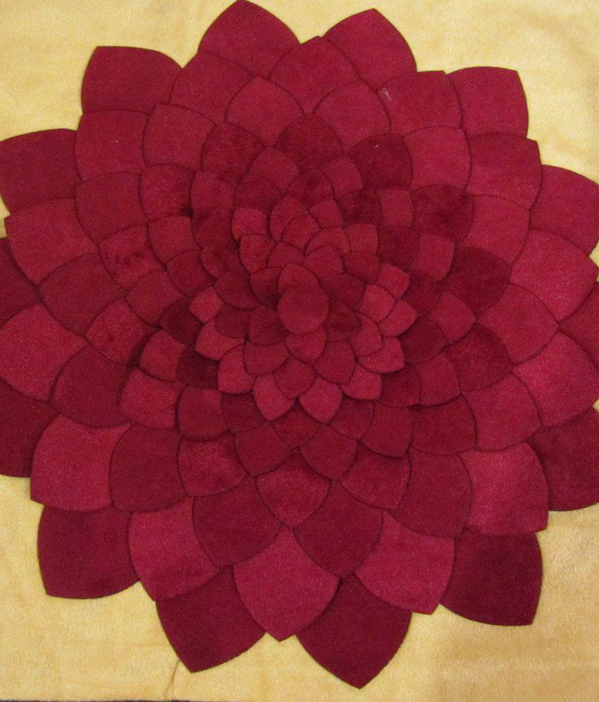 Definitely Women Velvet Multicolour Cutwork Floral Cushion Cover