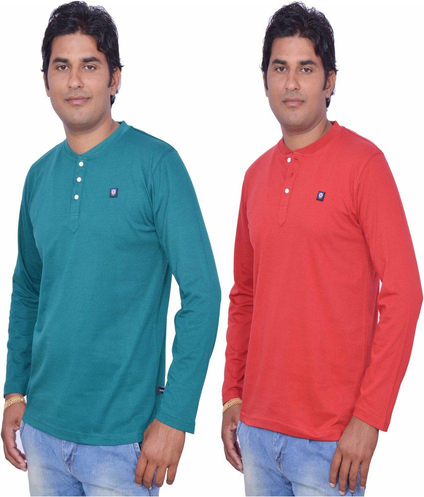 Leaf Multicolor Cotton Henley T-Shirt