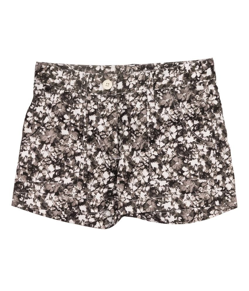 Miss Alibi Cotton Gray Woven Shorts