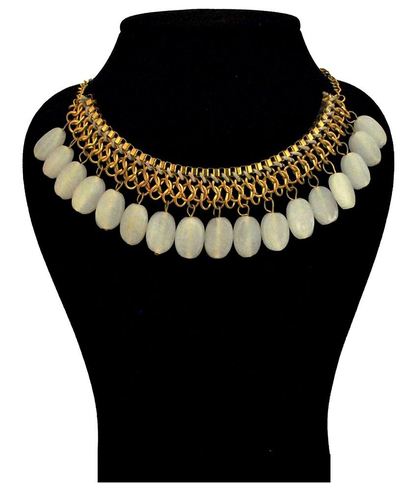Renaissance Traders Designer White Coloured Bead Necklace
