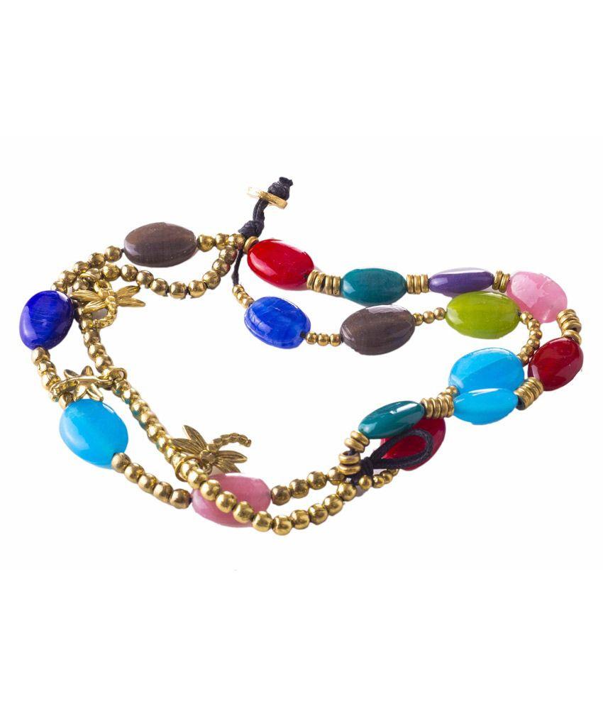 Adorelabel Multicolour Glass Adjustable Wedding And Engagement Bracelet