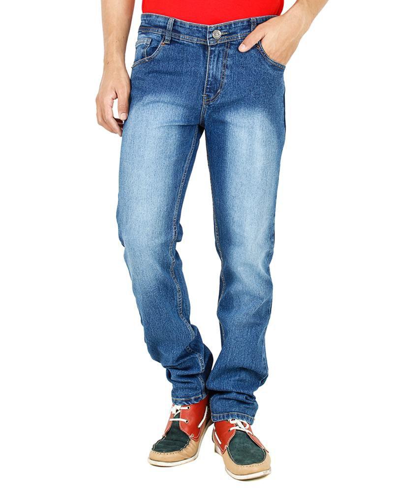 Denzor Medium Blue Cotton Smart Stretchable Men's Jeans