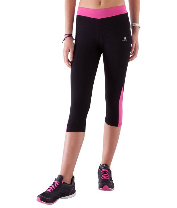 Domyos Black & Pink Athletic Fitness Cropped Leggings