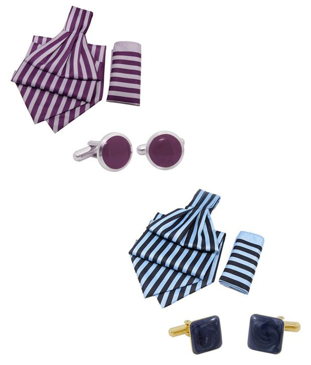 Orosilber Purple & Blue Gift Set of Cravats, Cufflinks and Pocket Squares