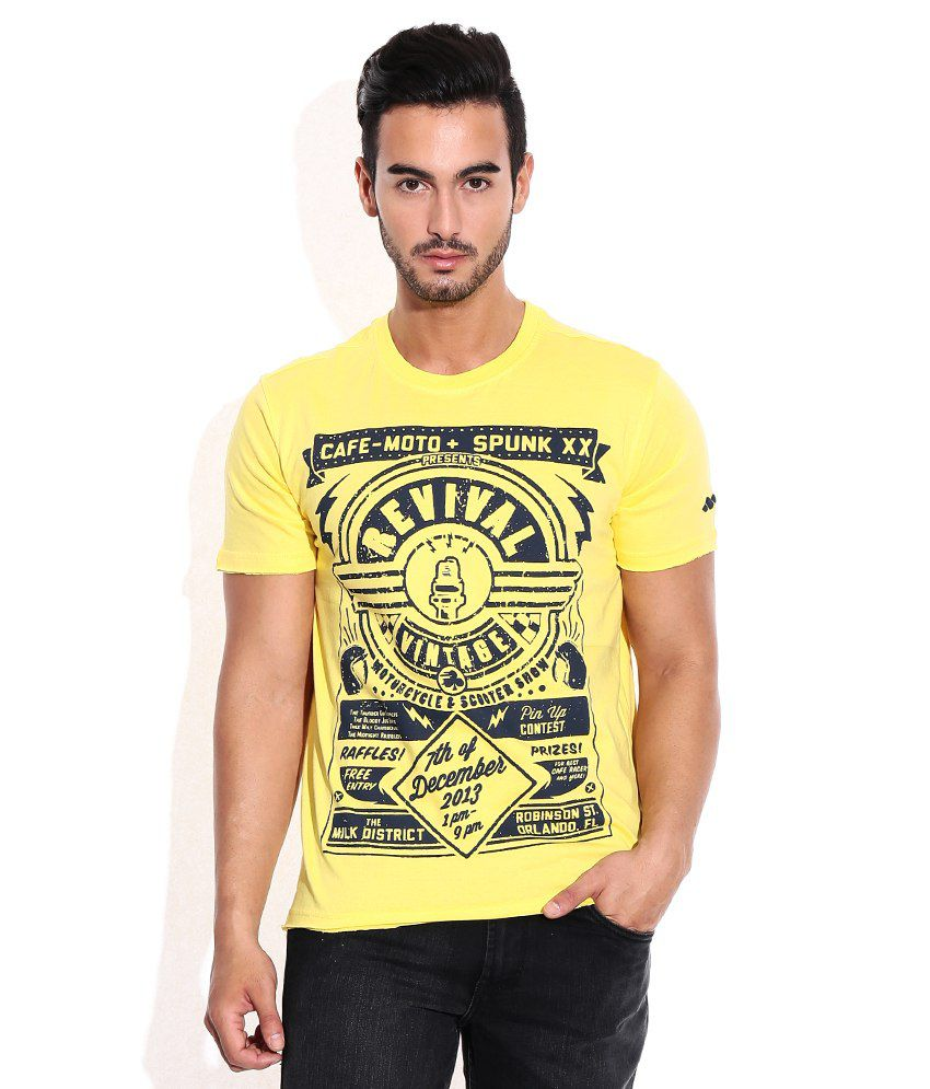 Spunk Yellow Round Neck Tee