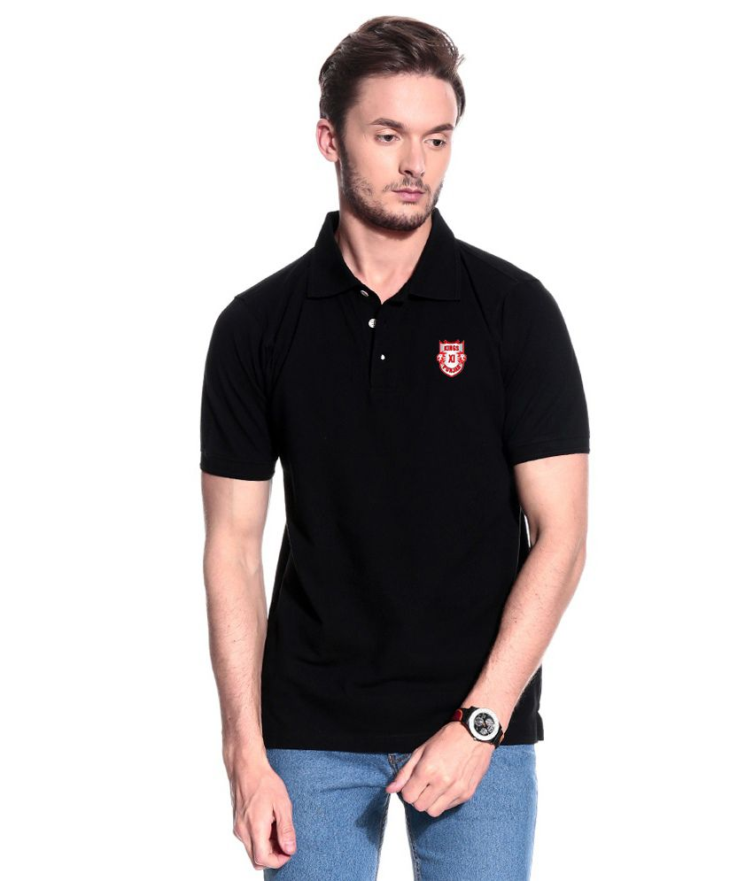 T10 Sports Black KXIP Stretchable Polo T- Shirt