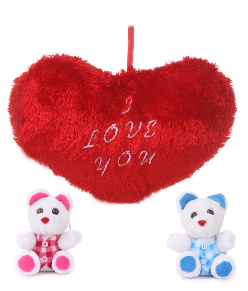 Deals India Valentine Gift Heart With 2 Cute Teddy Bear Combo