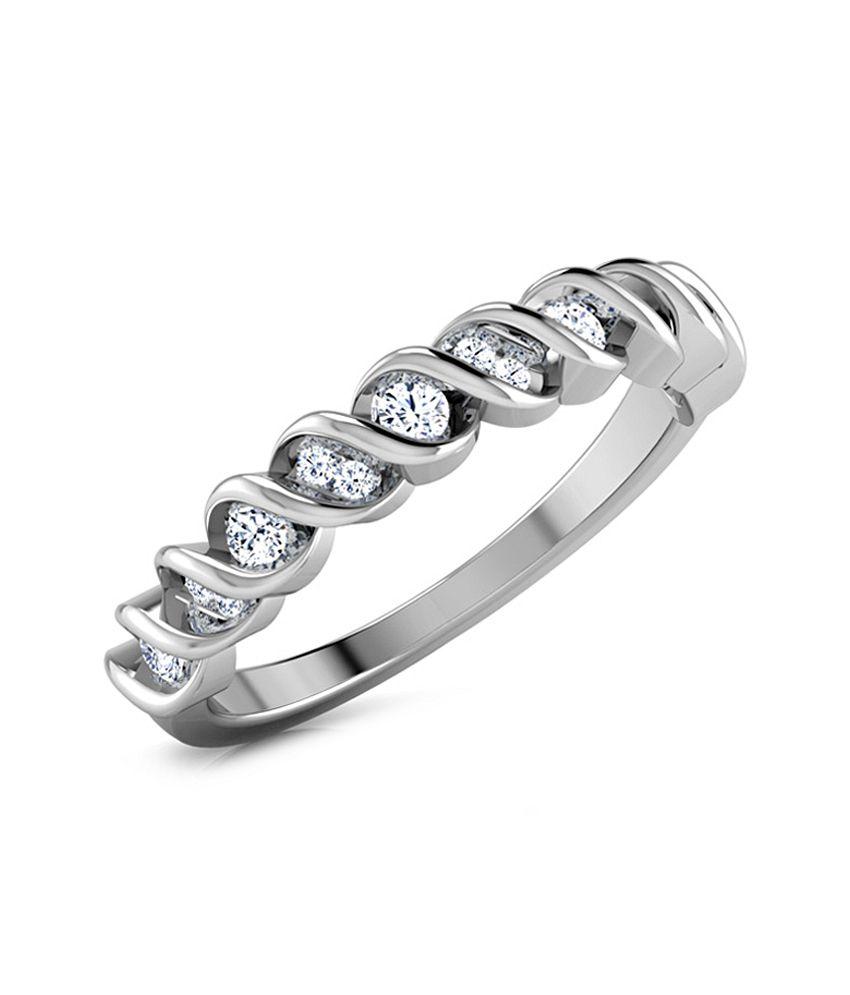 Caratlane 18 Kt White Gold Anais Ring by CaraLane