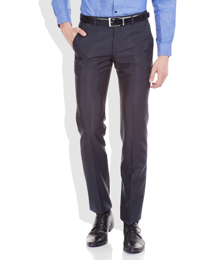Arrow Navy Slim Fit Formal Trousers