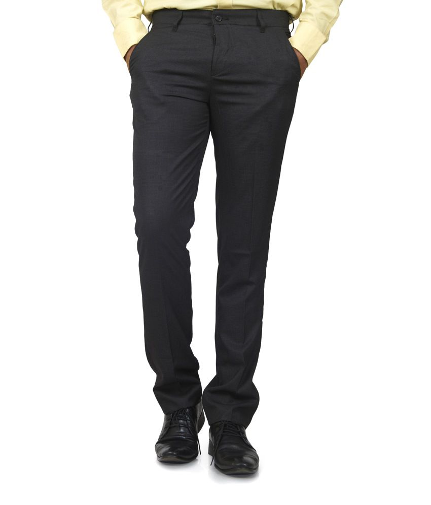 Defossile Black Formal Trousers
