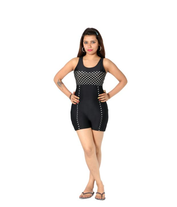 Indraprastha Black Polka Dotted Shorts Style Swimsuit/ Swimming Costume