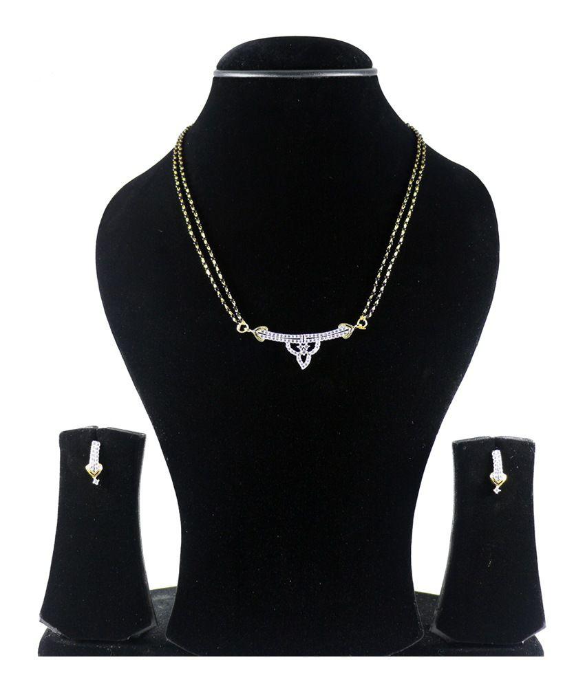 Youbella American Diamond Gold Plated Mangalsutra Set