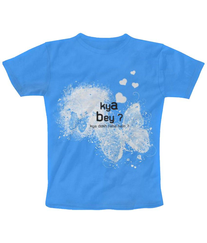 Freecultr Express Addressal Graphic Blue & White Half Sleeve T Shirt
