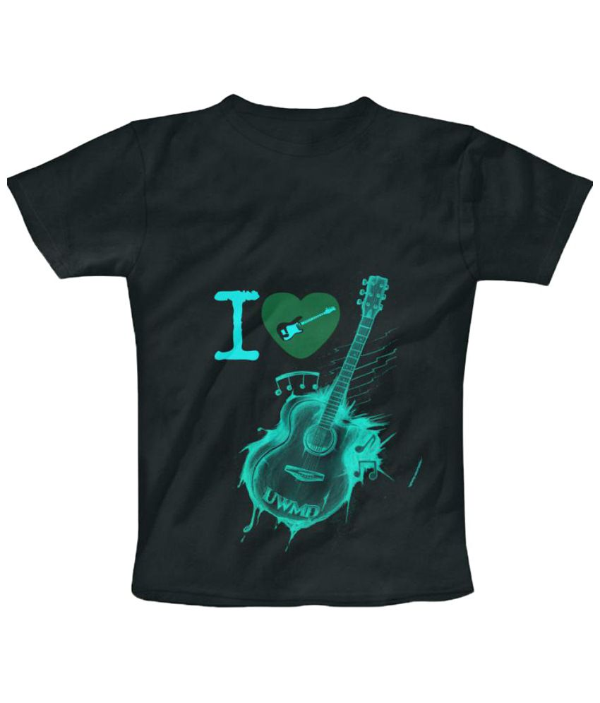 Freecultr Express Guitar Graphic Black & Green Half Sleeve T Shirt