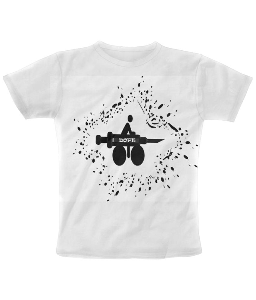 Freecultr Express Motodope Graphic White & Black Half Sleeve T Shirt
