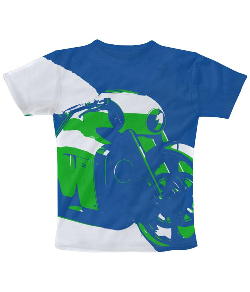 Freecultr Express Number 1 Graphic Blue & Green Half Sleeve T Shirt