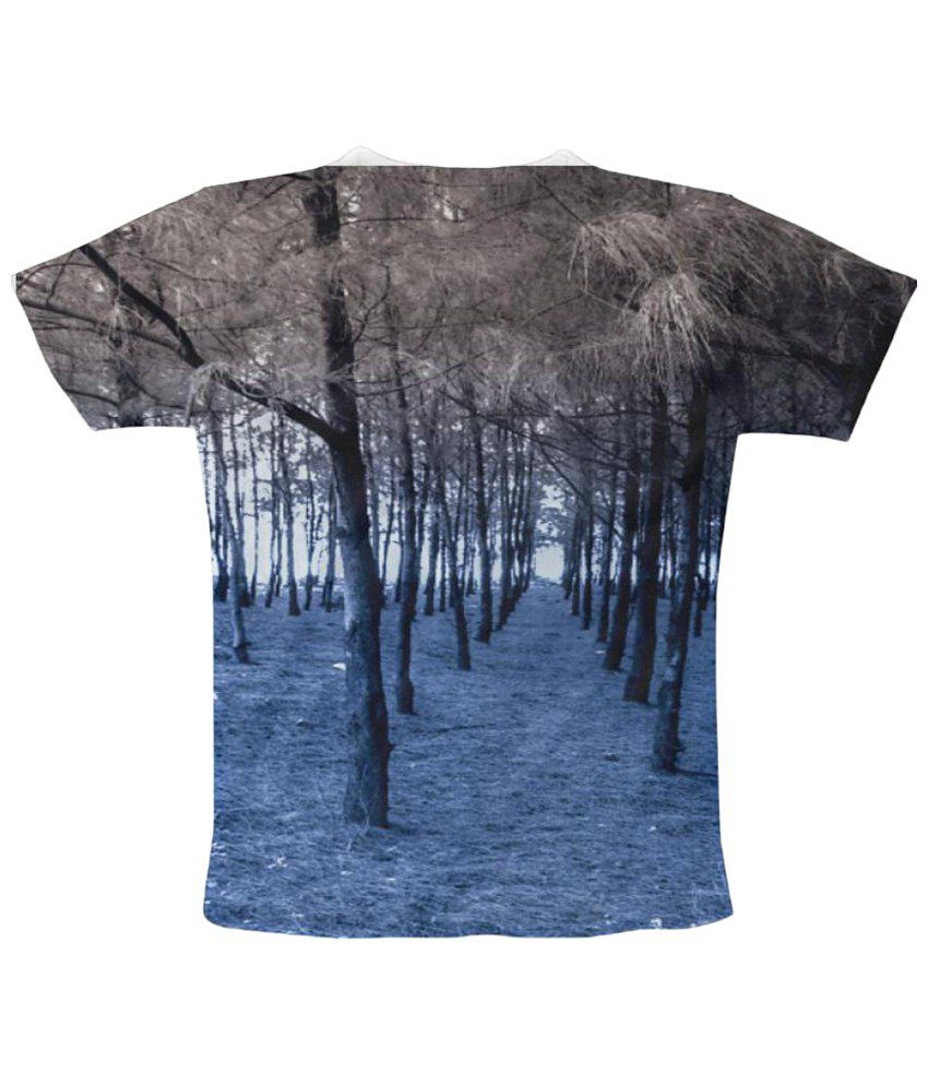 Freecultr Express Sea Shore Graphic Half Sleeve Gray T Shirt