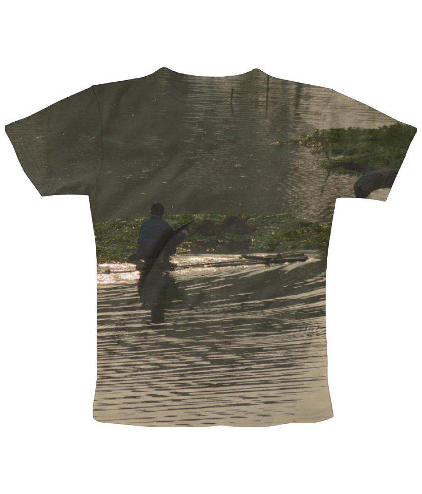 Freecultr Express Solitude Graphic Gray & Green Half Sleeve T Shirt