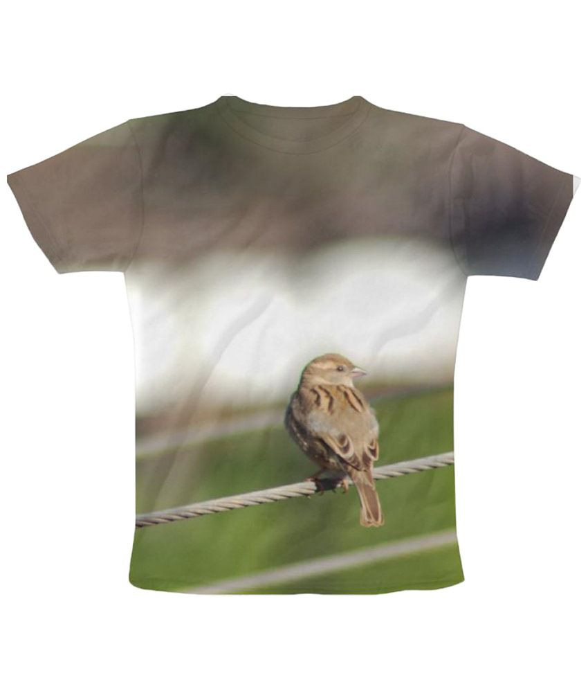 Freecultr Express Sparrow Graphic Brown & Green Half Sleeve T Shirt