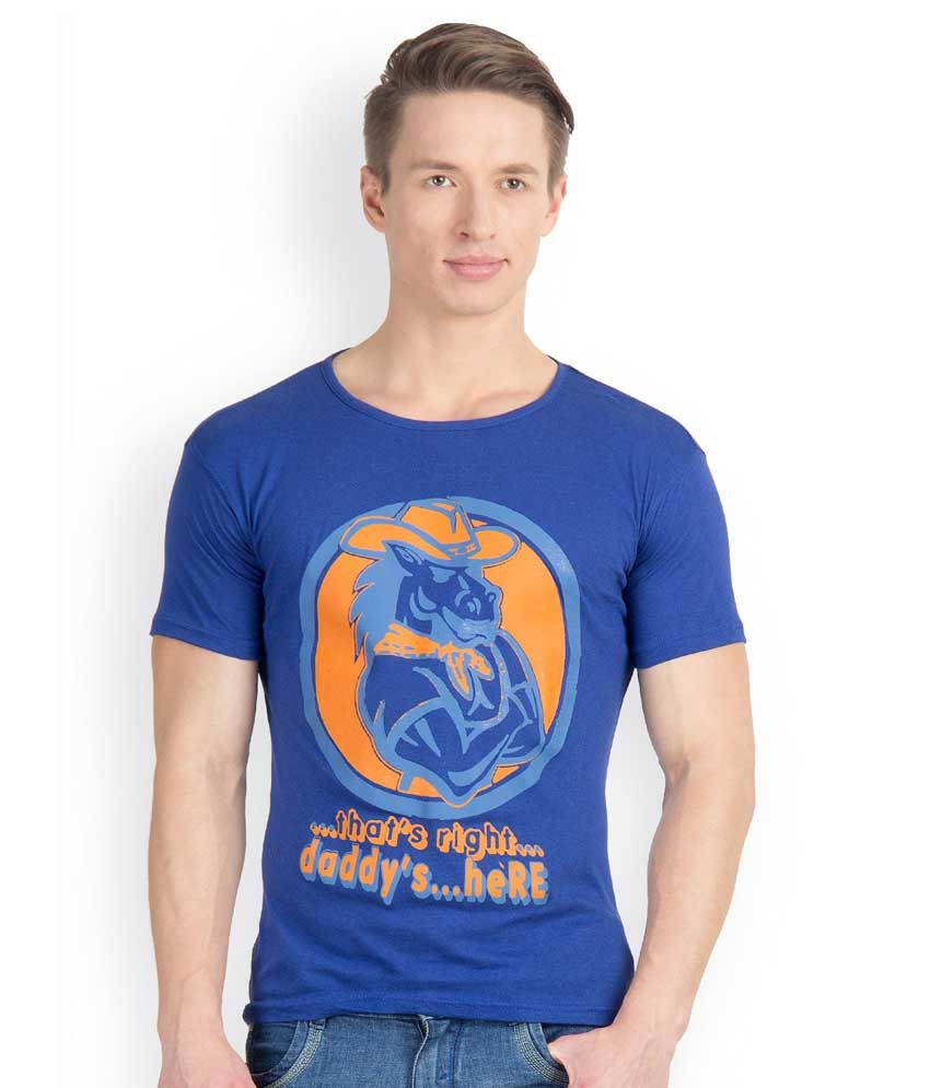 Incynk Blue Cotton Printed Half Sleeves Round Neck T-Shirt