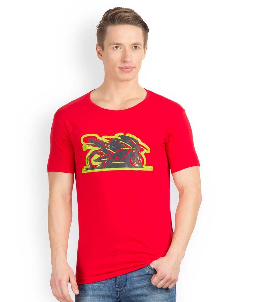 Incynk Red Cotton Printed Half Sleeves Round Neck T-Shirt
