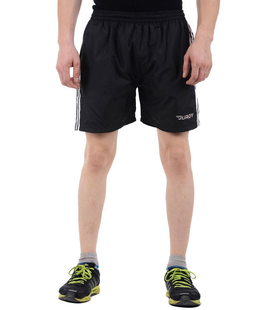 Burdy Black Polyester Shorts With Net