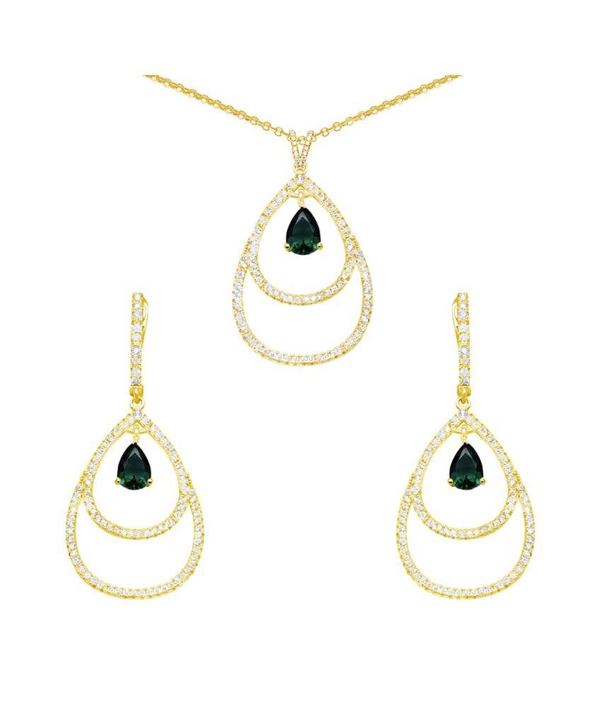 Gemtogems 92.5 Sterling Silver Dazzling Pears Necklace Set