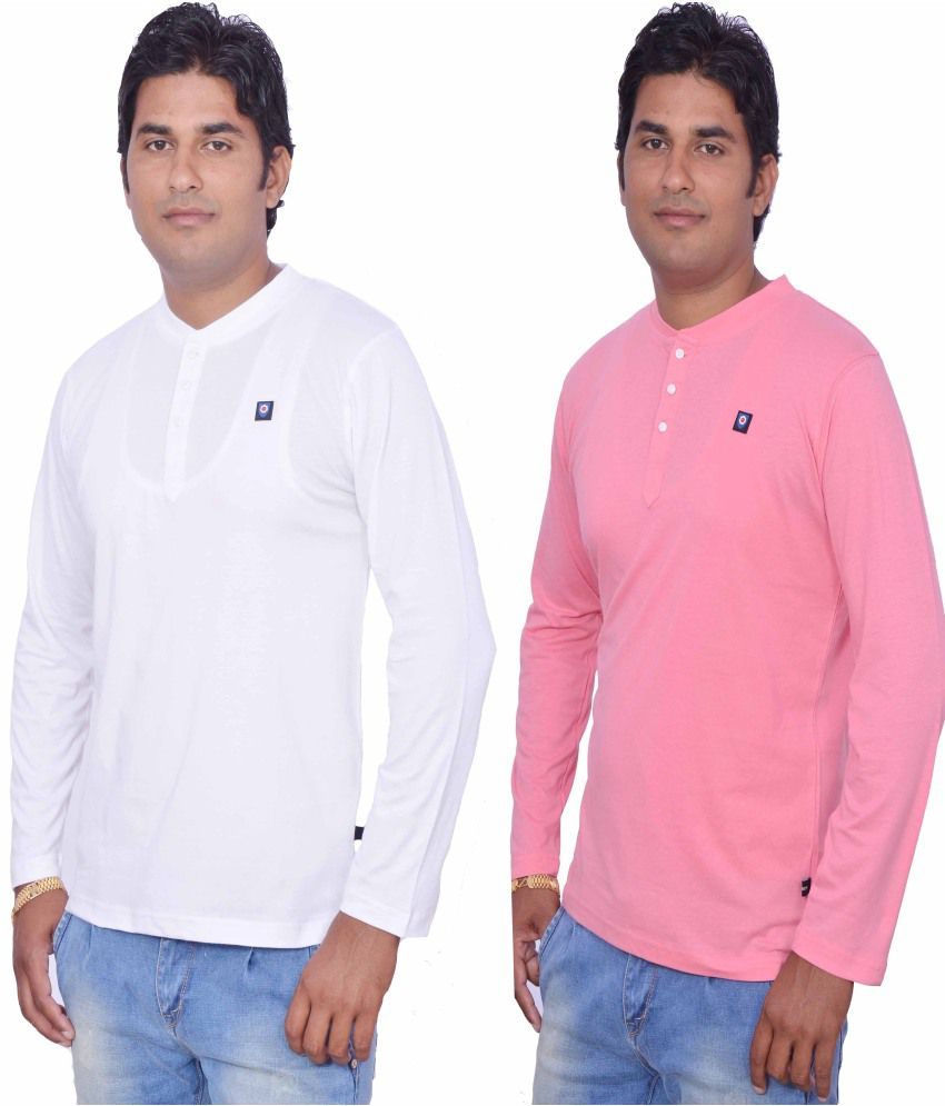 Leaf Full Sleeves Henley Cotton T-shirt Set Of 2