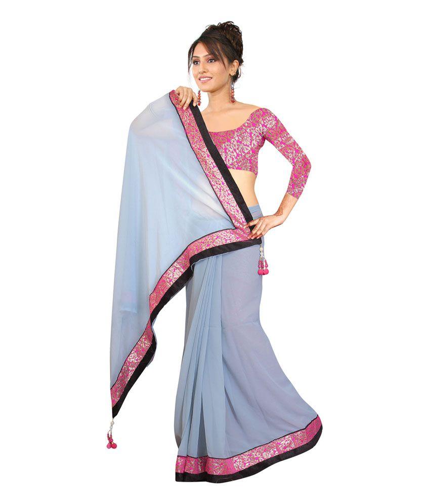 Madhav Fashion Gray Faux Georgette Saree