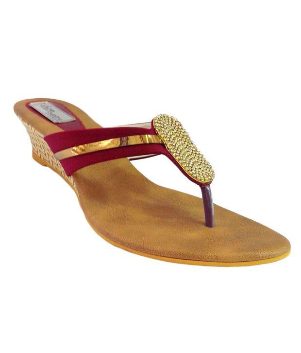 Shoe Centre Maroon Wedges Heeled Slip-on