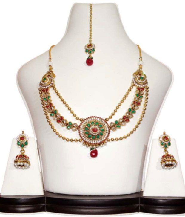 Anjan Golden Australian Diamonds Antique Necklace Set With Maang Tika - Golden