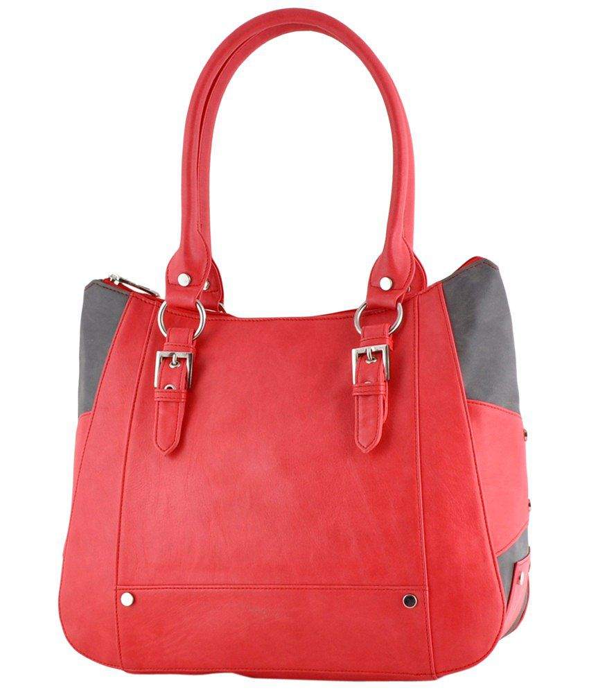 Butterflies Red Faux Leather Shoulder Bag
