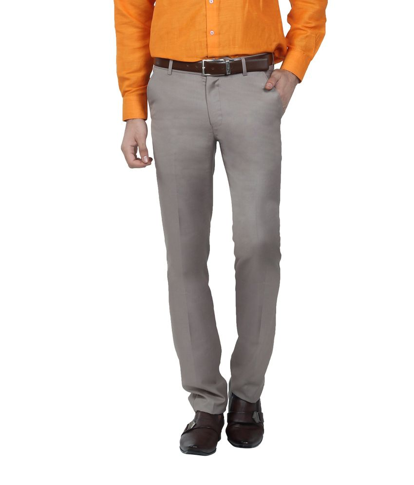 Hideouts Cream Flat TR Slim Fit Trouser For Men