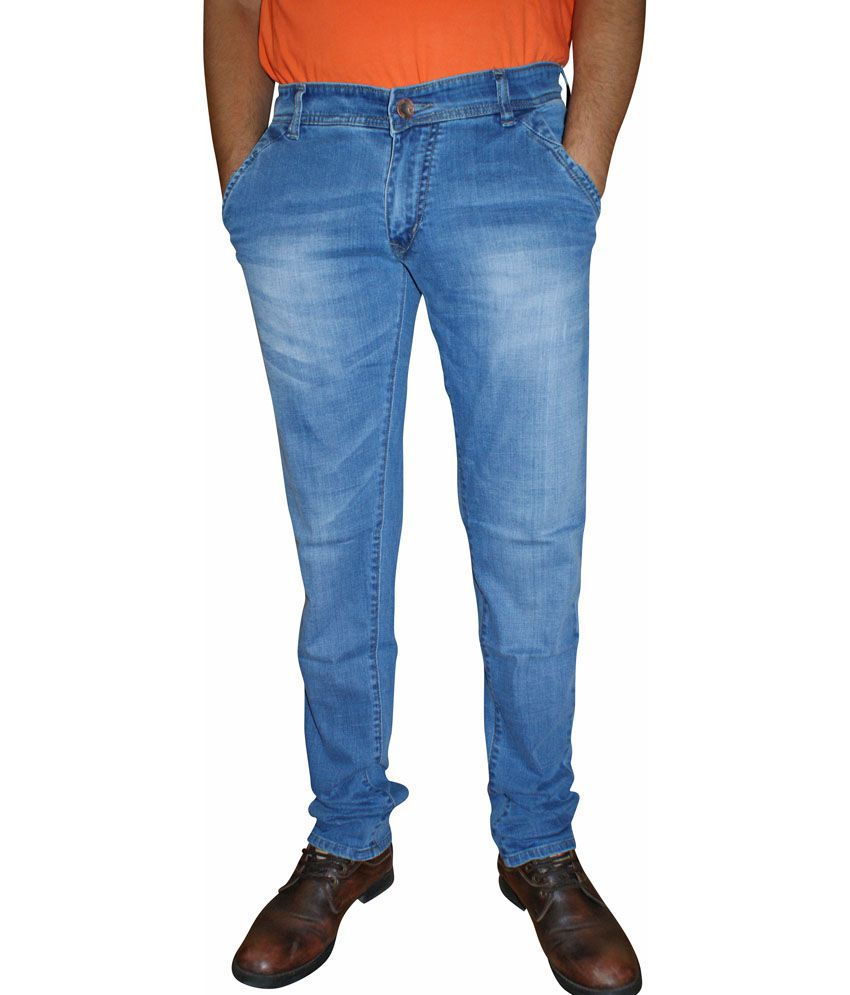 La Kive Blue Cotton Blend Skinny Fit Jeans