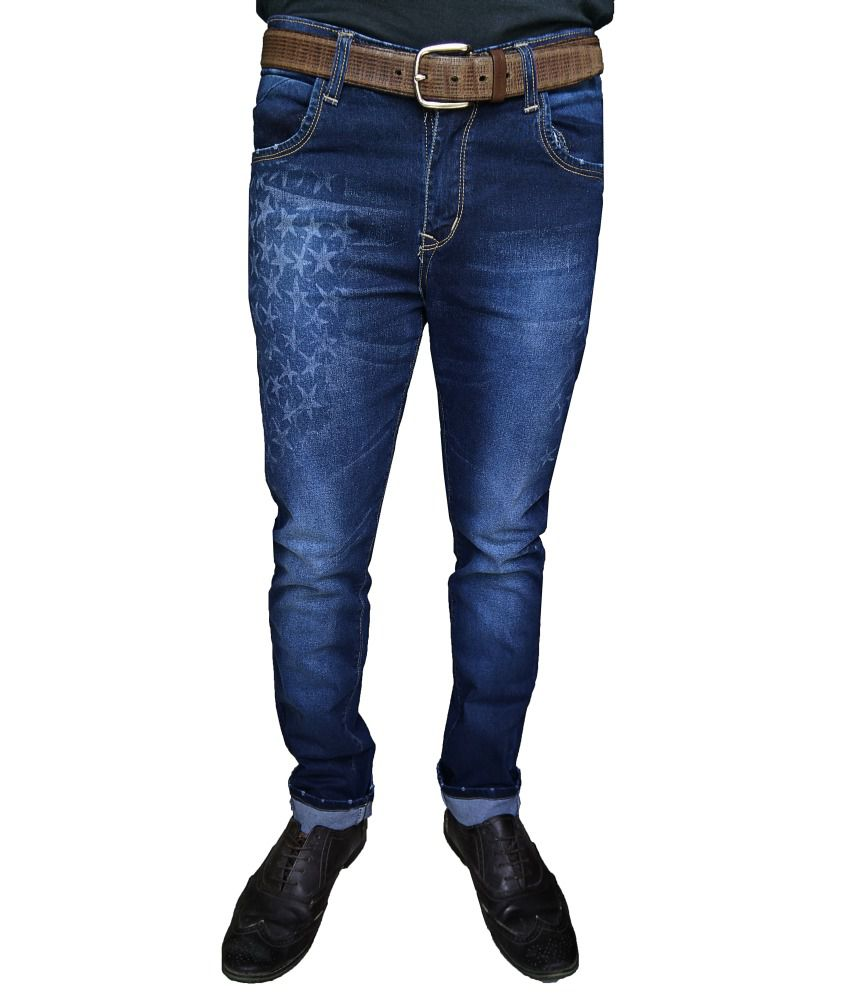 Oiin Cotton Blend Blue Men Jeans