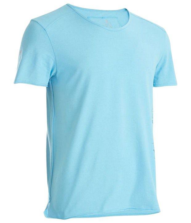 Domyos Blue Fitness Printed Yoga T Shirt For Men
